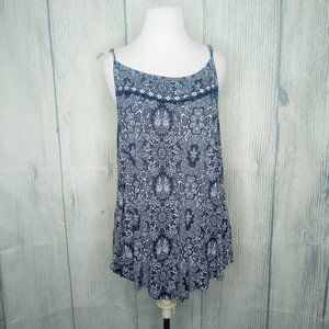 Maurices Floral Navy Blue Tank Top Blouse XL